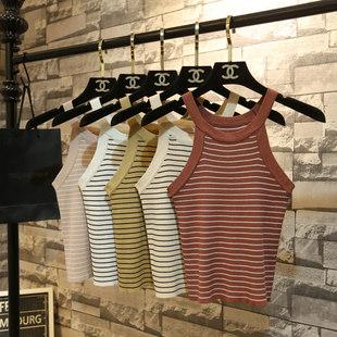 Весна корейский полоса повесить за шею вязание жилет женщина талия безрукавный плечо строп краткое модель сердце машинально куртка свитер