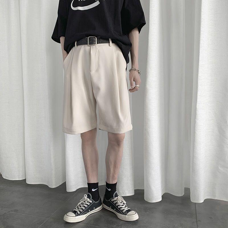 新款夏季百搭五分西装短裤男士韩版潮流纯色直筒宽松港风休闲裤子