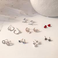 S925 sterling bạc kim khí Hàn Quốc cá tính đơn giản màu đỏ lưới sẽ di chuyển thiết kế bông tai nhỏ bông tai bông tai nữ
