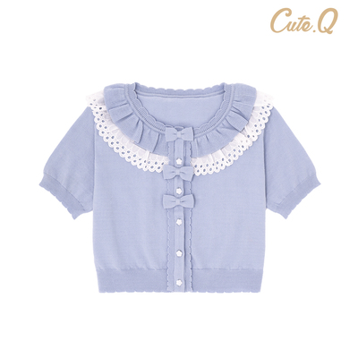 taobao agent XX Lilith short-sleeved cardigan striped bow CuteQ original lolita reservation deposit