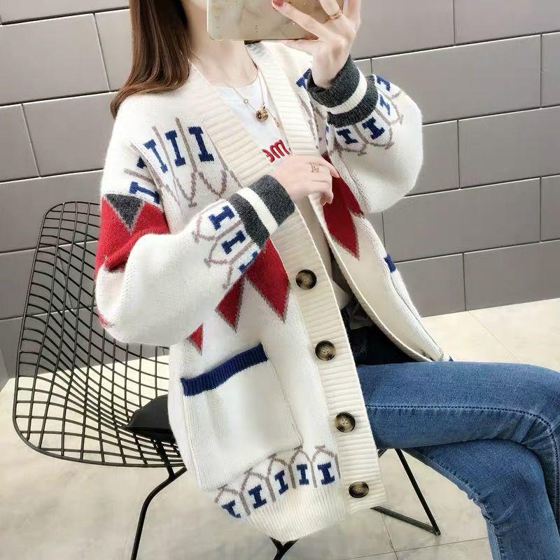 春装网红针织开衫女士毛衣二八月外套大码秋季新款韩版外穿上衣潮