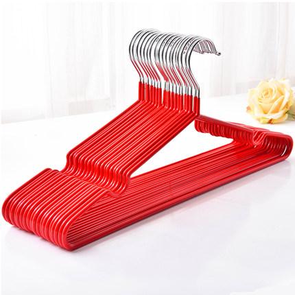 家用防滑加粗加厚铁衣架浸塑