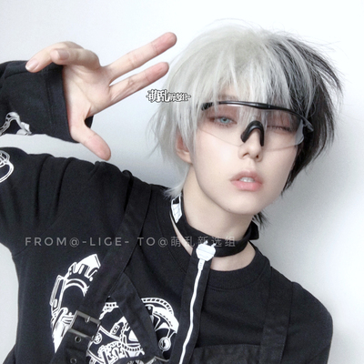 taobao agent Matte! Same-level students + black and white dual yin and yang head is too gay wig juvenile hair Christmas short hair male cos