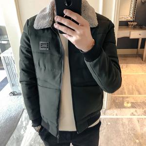Của nam giới cotton mùa đông 2017 mới lamb fur collar dày bông quần áo Hàn Quốc phiên bản của xu hướng của thanh niên slim bông áo khoác