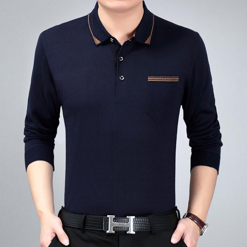 【艺鼠】中年男士春秋新款打底长袖T恤