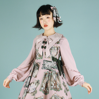 taobao agent Southern Cross, small sharp corners, five-color autumn and winter thick chiffon lantern sleeves with lolita solid color wild spot