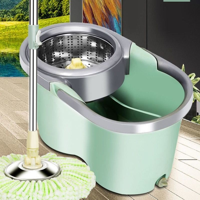 加厚带轮双驱动拖把桶旋转不锈钢甩∮干墩布家用拖布免手洗干湿两用