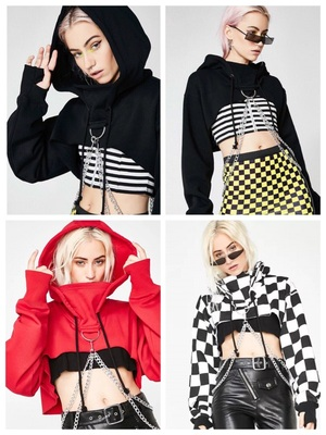 42agent Dollskill with the custom dark style Gothic metal punk industrial chain short hooded sweater - Taobao