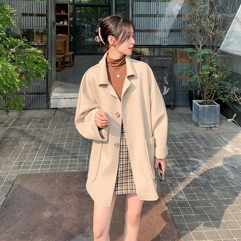 中长款毛呢外套女装秋冬季2020年新款韩版宽松小个子气质呢子大衣