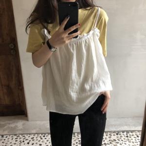 實拍 現貨 韓國自制吊帶衫女夏季簡約學院花邊背心上衣氣質罩衫