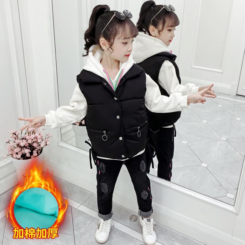 女童马甲加厚外套秋冬装新款中大儿童小女孩冬季马夹外穿洋气d