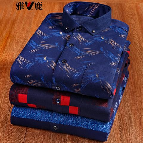 雅鹿 冬季 男长袖加绒加厚衬衫