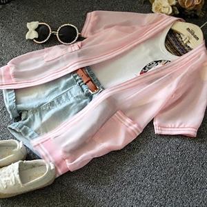 Cô gái mùa hè 2018 sản phẩm mới super-yang đường phố Han Fan trẻ em chữ lỏng siêu mỏng voan quần áo chống nắng áo khoác