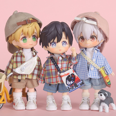 taobao agent ob11 baby clothes plaid shirt jacket molly doll clothes 12 points bjd GSC body sister head