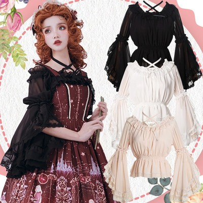 taobao agent Lolita Ji sleeves with Lolita shirt bottoming top spring and summer tube top one-line collar lace chiffon shirt women
