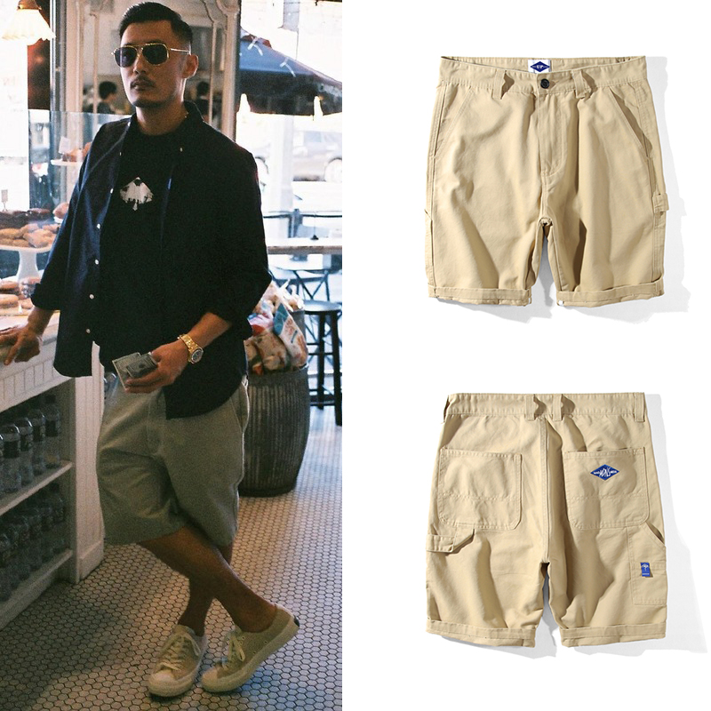 Thương hiệu thủy triều Hồng Kông Yu Wenle với cùng một công cụ nhiều túi giản dị quần thẳng giản dị quần short năm điểm quần nam triều - Quần short