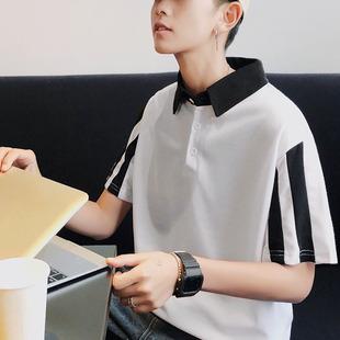 (领券下单59元)2019夏季新款短袖男款港风POLO衫青少年宽松版T