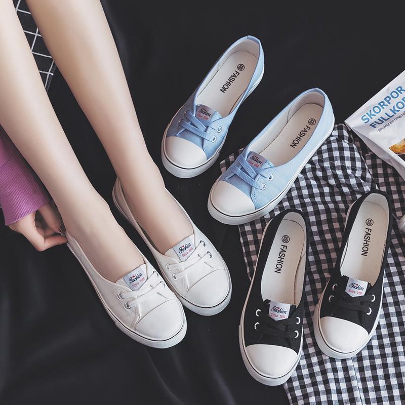 香港潮鞋夏季新款小白帆布女鞋平底夏款百搭韩版学生透气浅口布鞋
