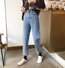 8387#实价实拍  韩版新款百搭小高腰纯色显瘦萝卜裤牛仔裤女