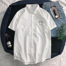 男士短袖衬衫2019夏季修身韩版格子寸衫青年休闲潮流男装衬衣143