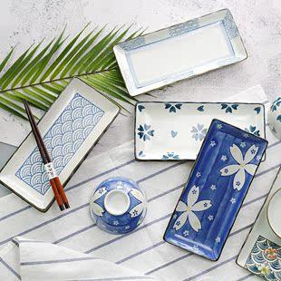 手绘田园风长鱼瓷盘长方形碟子