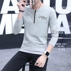 春秋款V领带扣T恤长袖男青少年修身韩版T恤男733#