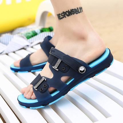 夏季凉鞋拖鞋男<font color='red'><b>一字</b></font><font color='red'><b>拖</b></font>沙滩鞋洞洞鞋
