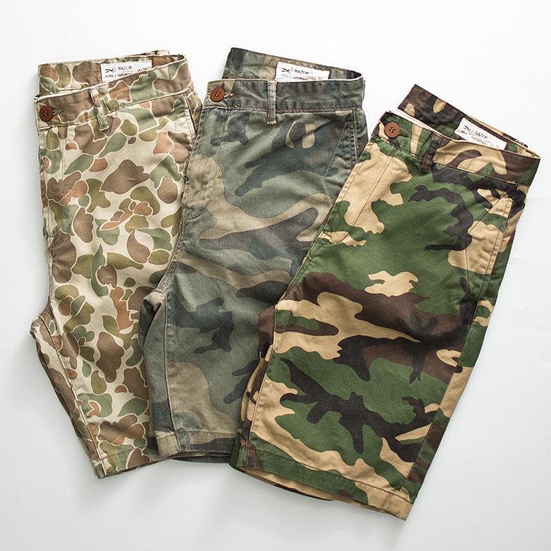 Kaki nặng Nhật Bản dụng cụ ngụy trang quần short nam triều mùa hè kẻ khó khăn cotton in quần năm điểm cũ - Quần short