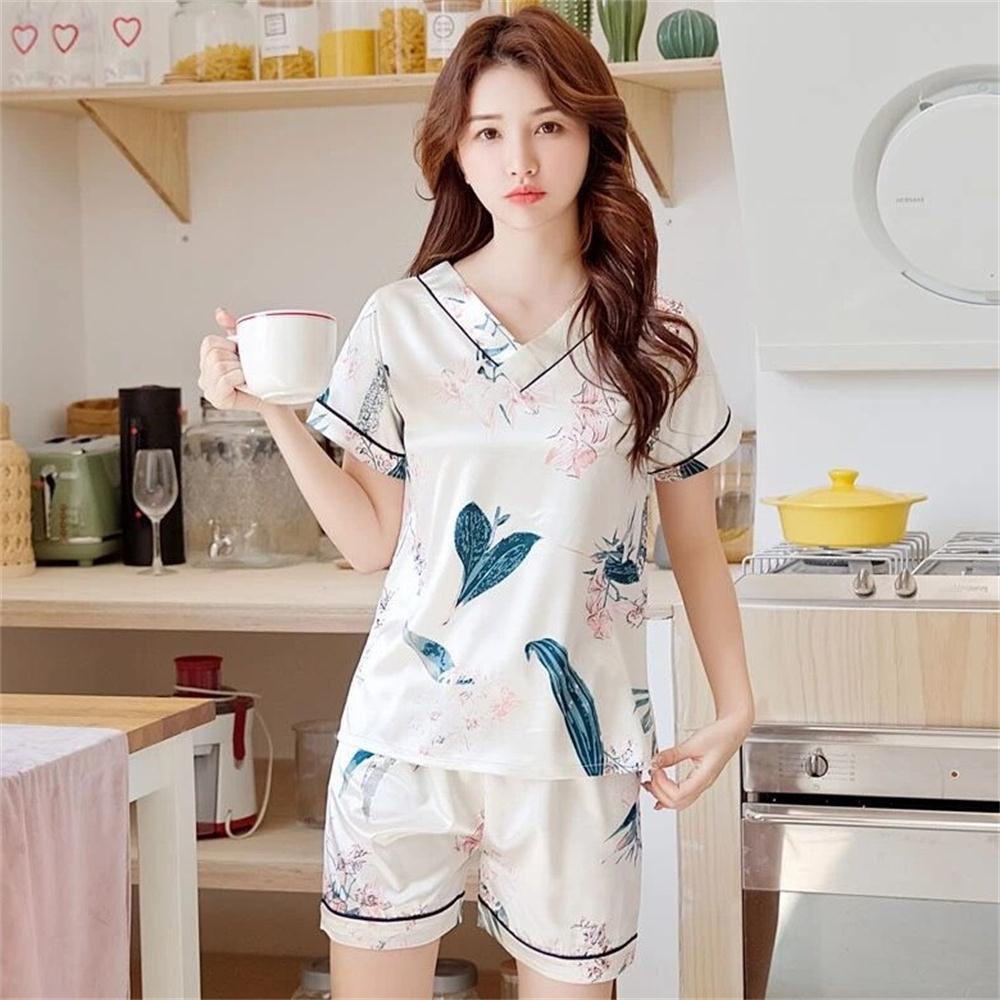 睡衣女夏季冰丝韩版清新V领薄款仿真丝绸可外穿夏家居服两件套装