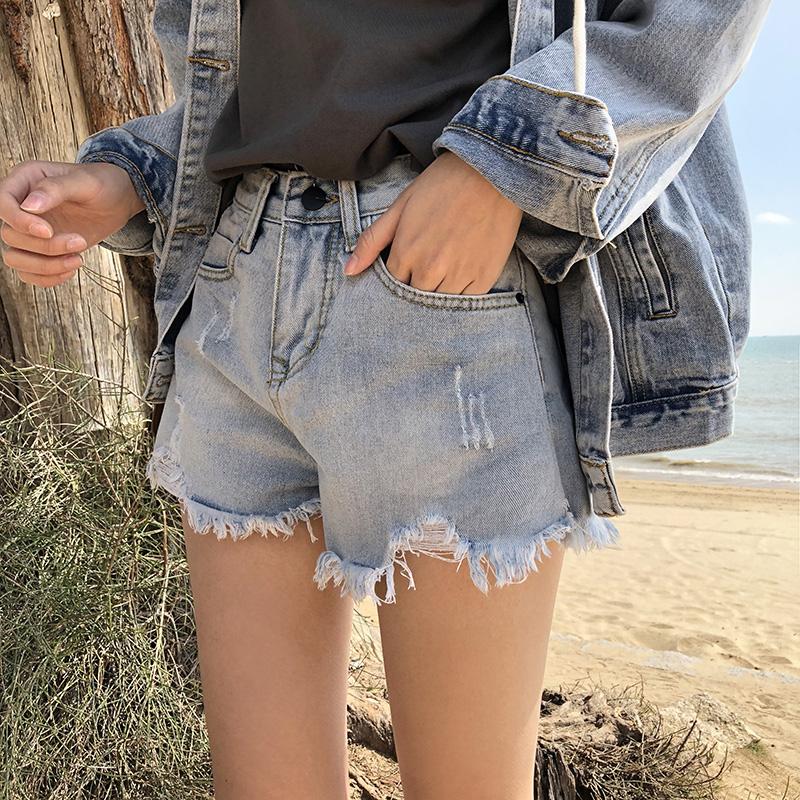 宽松阔腿裤子女学生短裤女夏磨破毛边大码短裤
