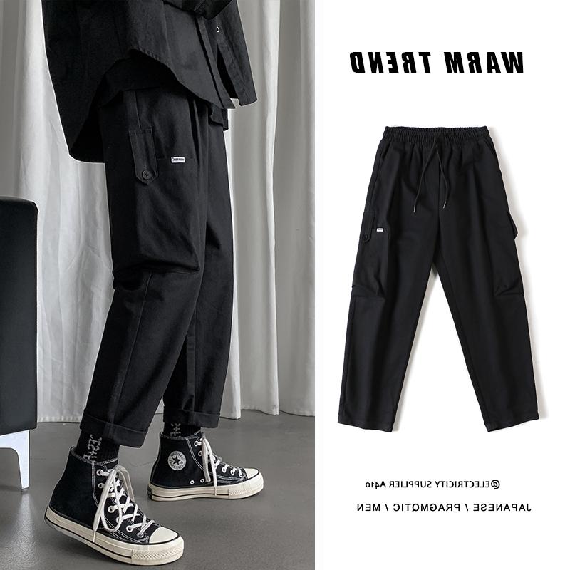 Fang Shao quần áo nam thu đông Hồng phong cách túi lớn quần yếm xu hướng quần xu hướng thẳng quần Hàn Quốc - Quần tây thường