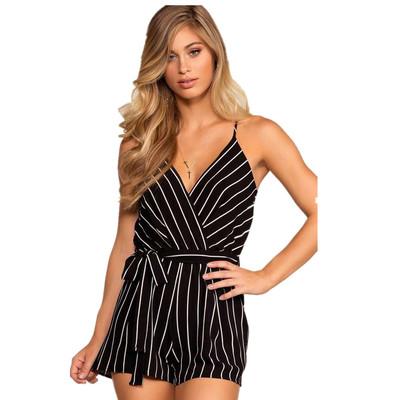 7794#亚马逊速卖通外贸女装2018新款深v吊带露背条纹连体裤