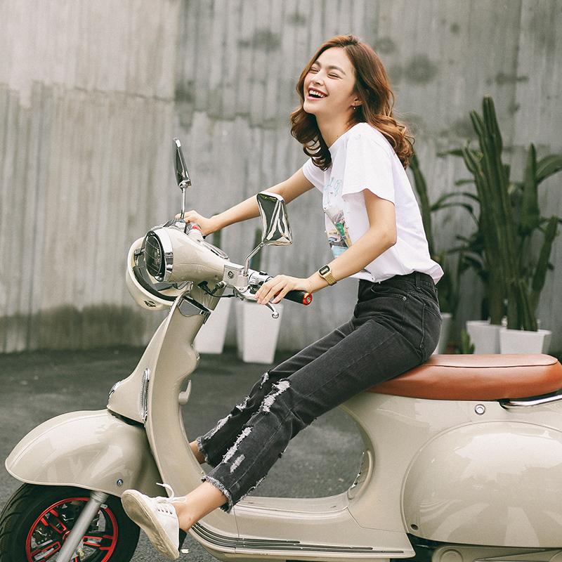 Xiaowei 2016 mùa hè mới phong cách Hàn Quốc hipster tóc cạnh lỗ cao eo hoang dã chín quần jeans trẻ em mùa hè