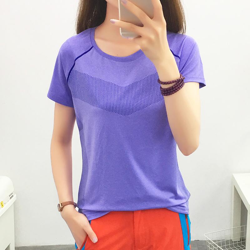 Thể thao t-shirt nữ cổ áo màu sắc phù hợp với quần áo khô nhanh ngắn tay ngoài trời mùa hè chạy thể dục quần áo giản dị