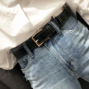 ins年轻人男女通用皮带 简约百搭潮流时尚韩版学生宽裤腰带韩国黑
