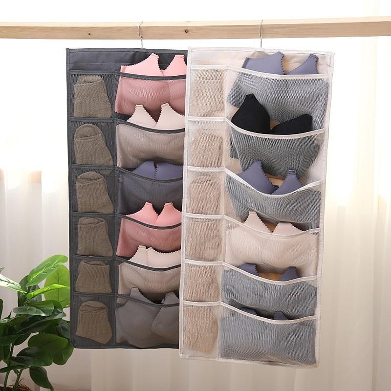 限时秒杀【第二件7.9】内衣挂袋双面正反30格居家悬挂收纳袋袜子整理袋