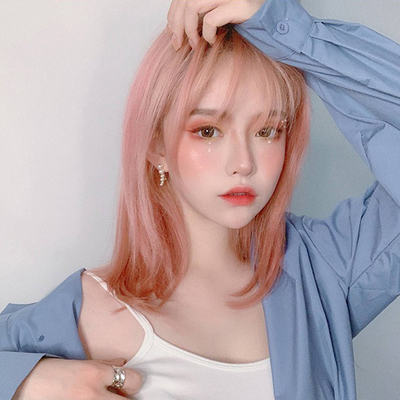 taobao agent Pink wig new style wig mid-length style clavicle mid-length hair girl pink Lolita