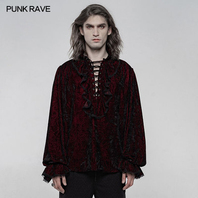 taobao agent *PUNK RAVE pr punk state men's clothing, old pleated velvet gothic palace medieval loose shirt