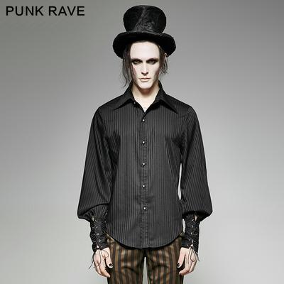 taobao agent PUNK RAVE Steampunk Style Gothic Shirt Vertical Striped Shirt Retro Men's Gothic