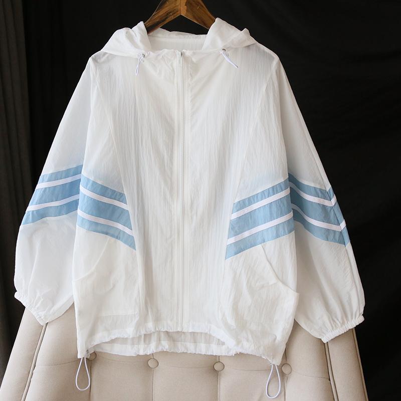 时髦运动风!薄款防晒衣女2021年春夏新款韩版宽松百搭洋气薄外套