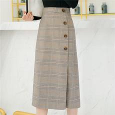 实拍18格子半身裙女秋装新款韩版中长款包臀裙侧拉单排扣伞裙1823