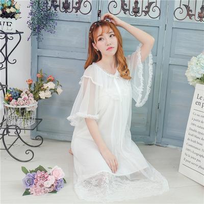 甜美宫廷风短袖睡裙夏季网纱蕾丝韩版公主纯棉日系睡衣少女家居服
