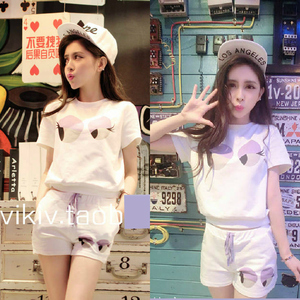 Phụ nữ mùa hè đồ ngủ phụ nữ mùa hè Hàn Quốc bông phim hoạt hình dễ thương quần ngắn tay xl mùa hè dịch vụ nhà phù hợp với