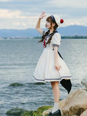 taobao agent 【Doll Paradise】L985 original lolita Showa girl navy waist dress