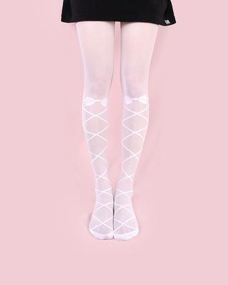 taobao agent 【To Alice】S1098 Japanese white cross straps bow Lolita 100 soft socks