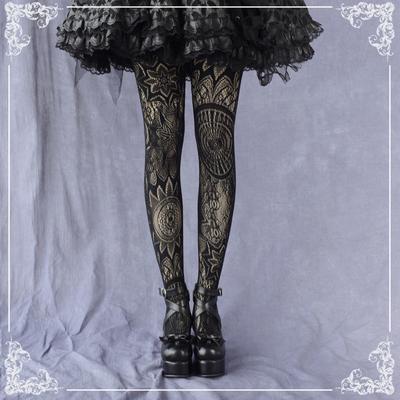 taobao agent Gothic steam totem lolita stockings female lolita bottoming socks lopunk jacquard hollow outer pantyhose