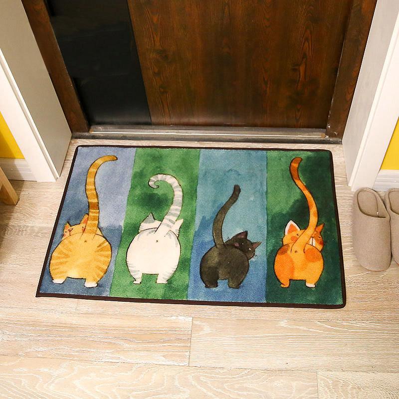 Милый кот в японском стиле коврик дома дверь коврик вводить дверь Гостиная ковровое покрытие спальни ноги коврик дверь коврик ванная комната нескользящие коврик