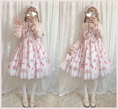taobao agent Meow Jun Studio original lolita lolita strawberry rabbit JSK suspender skirt soft girl sweet and cute