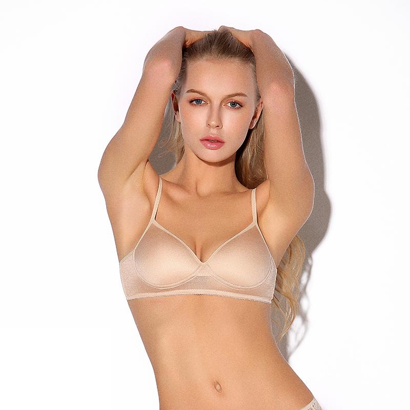 Áo lót lụa siêu mỏng không thấm nước gợi cảm và thoải mái không tì vết cỡ lớn tập hợp đồ lót lụa mùa hè nữ - Áo ngực không dây