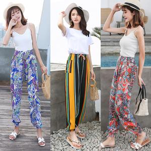 Mùa hè của phụ nữ quần cotton cotton quần harem lụa phần mỏng đàn hồi eo kích thước lớn chất béo mm cotton quần âu quần